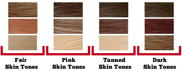 Hair Colors for skint tone chart