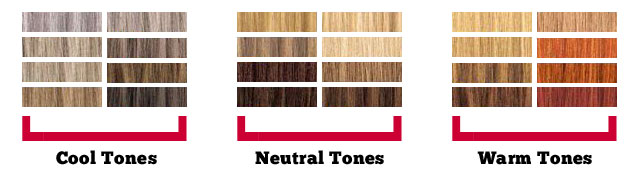 A chart of the cool neutral and warm hair color tones