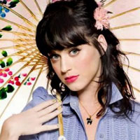 Katy Perry with black hair and umbrella