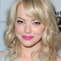 Emma stone with blonde matching eyebrows